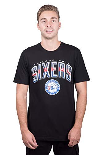 Ultra Game NBA Philadelphia 76ers Mens Arched Plexi Short Sleeve Tee Shirt, Black, Small