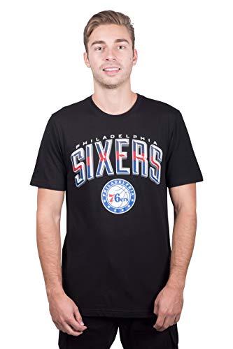 Ultra Game NBA Philadelphia 76ers Mens Arched Plexi Short Sleeve Tee Shirt, Black, Large
