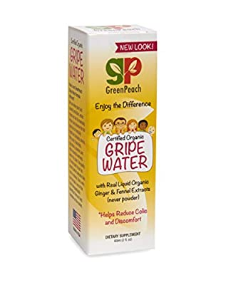 GreenPeach All Natural Gripe Water for Babies, Fast Acting Gas Drops for Infants Keeps Baby and You Smiling, 100% Organic Ingredients Aids Baby Colic and Gas Relief, Hiccups and Nausea