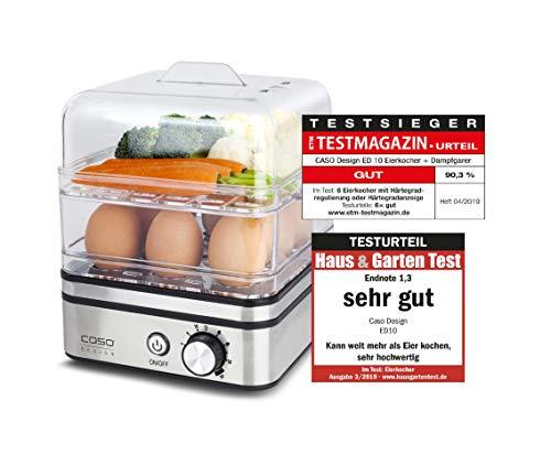 CASO ED10 - Design Eierkocher & Dampfgarer, schonendes Garen von Fisch, Gemüse, Kartoffel uvm., Elektronische Garzeitreglung, Edelstahldesign, Eiträger für bis zu 8 Eier, verschiedene Einsätze