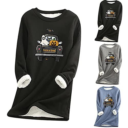 Halloween Shirts for Women Halloween Print Long Sleeve Sexy Sleepwear Round Neck Fall Fleece Sweatshirt Tops 82 Black