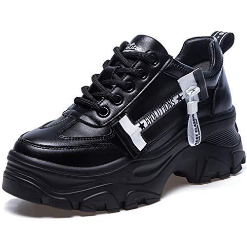 Mujeres Chunky Zapatillas Moda Carta Impreso Cremallera Color sólido Impermeable con Cordones Bajo Top Casual Zapatos Blancos Señoras Plataforma Entrenadores