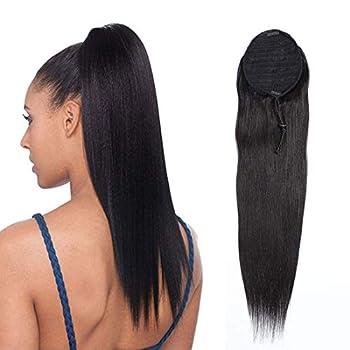 Drawstring Ponytail Human Hiar Extensions Straight Human Hair Ponytail 100% Human Hair 1B Natural Black for Women Ponytail Clip in Hair Ponytail 16 Inches