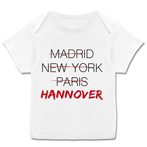 Städte & Länder Baby - Weltstadt Hannover - 68-74 (9 Monate) - Weiß - Typo-Grafie - E110B - Kurzarm Baby-Shirt für Jungen und Mädchen