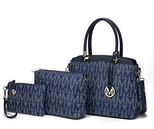 Mia K Collection Bolsa de ombro para mulheres, bolsa transversal e bolsa: conjunto de 3 peças de bolsa de couro PU, Navy Monee, Large
