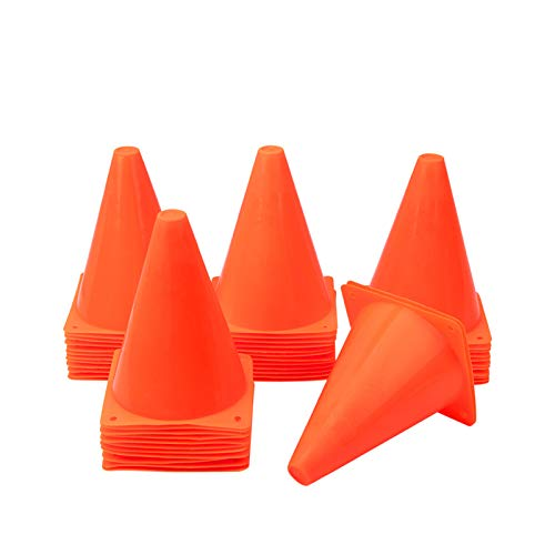 [ 48 Pack ] 7 Inch Plastic Traffic Cones Field Marker Cones Sport Training Traffic Cone Sets for Skate Soccer Indoor/Outdoor Agility Training & Festive Events Physical Education Flexible - Orange (48)