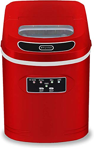 Whynter IMC-270MR Compact Portable Ice Maker, 27 Pounds Capacity, Metallic Red