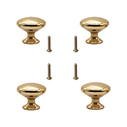4 Pcs Pomelli per Porta, 24mm Pomolo per mobile, Pomelli per Mobili con Viti, Maniglia per armadietto, Pomelli per Cassetti per porta, armadio, cassetto e credenza (D'oro)