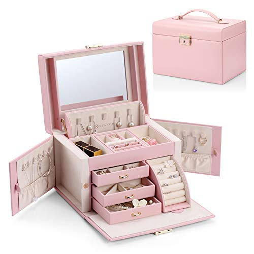 Vlando Women Jewelry Box Organizer, Vintage Gift Case (Pink)…