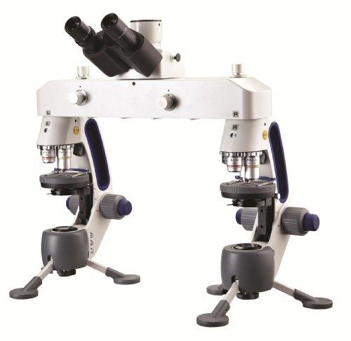 Swift Optical M3-F Trinocular Forensic Comparison Microscope, Widefield 10x/18mm Eyepiece, 4x, 10x, 40xR Micro and 2x Macro Achromatic Objective, LED Illuminator Light Source, 110V/220V