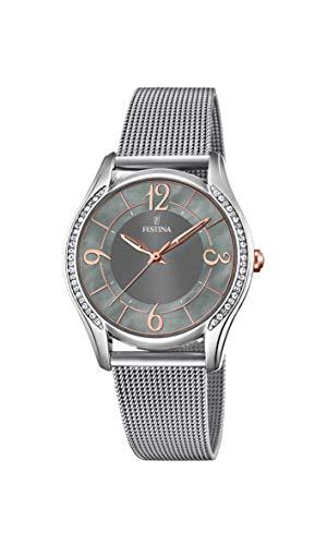 Festina Damen Analog Quarz Smart Watch Armbanduhr mit Edelstahl Armband F20420/2