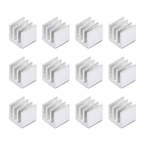 sourcing map 10x10x10mm Silver Tone Aluminum Heatsink Thermal Adhesive Pad Cooler for Cooling 3D Printers 12Pcs