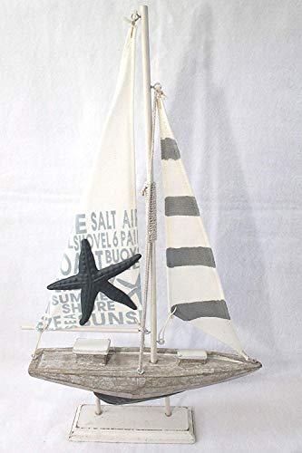 voilier pour décoration 43 x 25 x 6 cm bois tissu métal blanc gris Shabby