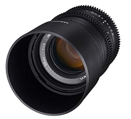 Samyang V-CSC Mirrorless - Objetivo para videocámara para Sony E (50mm T1.3 AS UMC CS), Negro