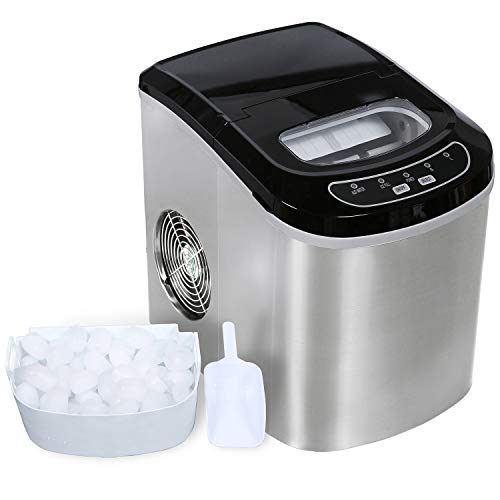 ADT Ice Maker 26 lb/24H Portable Ice Maker Ice Cube Maker (Stainless Steel Silver)
