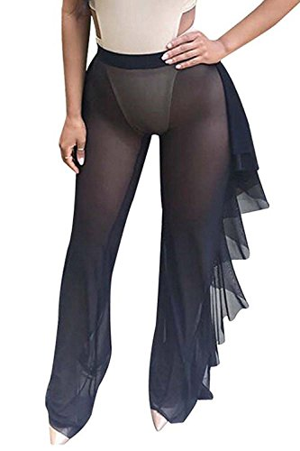 Doqcey Women's See Through Sheer Mesh Ruffle Swimsuit Beach Cover up Pant (Tag L, Black)