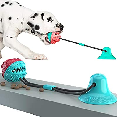 HETIAL Dog Chew Toy for Aggressive Chewers, Dog Puzzle Treat Food Dispensing Ball Toys, Dog Molar Ball, Rope Tug Toy with Bell for Puppies and Large Dogs, Blue & Red