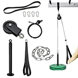 SYL Fitness Cable Pulley System Gym Equipment, Squat Rack Accessories for LAT Pulldown, Tricep, Bicep, Arm Workouts - DIY Home Gym Cable Machine - Weight Plates Loading Pin