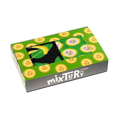 ZOOKSY - Damen Herren Kinder Lustige mixTURY Obst Socken Geshenk - 2 Paar - Banane - Größen 36-40
