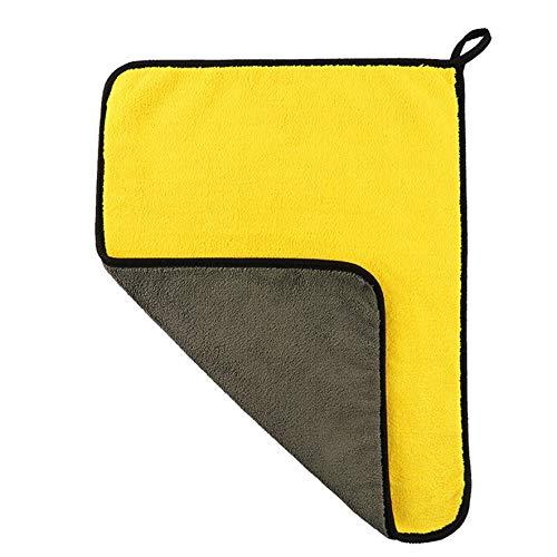 Rouku 1 Toalla de Cocina, Trapos de Limpieza antigrasa, paño de Limpieza de Microfibra Absorbente eficiente, Toalla de Limpieza para Lavado de Gafas de Coche (Amarillo Gris)