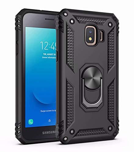TiHen Funda Samsung Galaxy J2 Core Armor Carcasa con 360 Anillo iman Soporte Hard PC y Silicona TPU Bumper antigolpes Fundas Carcasas para Samsung Galaxy J2 Core, con Protector de Pantalla,Negro