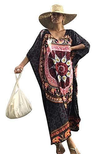Vestito Lungo Fiori Donna Estivo Moda Abito Etnico Elegante Boho Hippie Tunica da Spiaggia Caftano Africano Kaftano Indiano Kimono Mare Vestiti Stampa Floreale Copricostumi e Parei Bikini Cover Up