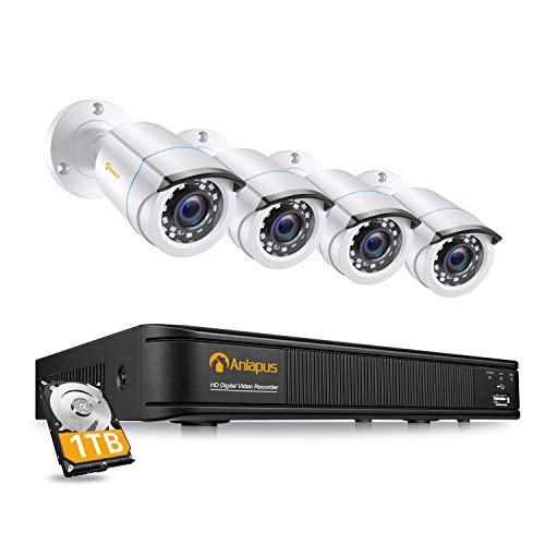 Anlapus DVR Kit Videosorveglianza Sistemi Videocamera 8 Canali 1080P H.265+ TVI DVR 4 Telecamere di Sorveglianza Esterno, 1TB HDD, IR Visione Notturna, P2P