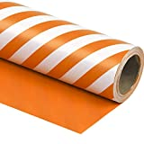 WRAPAHOLIC Reversible Wrapping Paper - Orange and Stripes Design for Birthday, Holiday, Wedding, Baby Shower Wrap - 30 inch x 33 feet