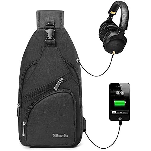 BSTcentelha Sling Shoulder Crossbody Chest Bag with USB Charging Port(Black)