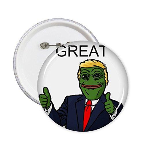 DIYthinker Amerika Amerikaanse President Sad Frog Trump Grappig Amerika Great Again glimlach Spoop Meme Afbeelding ronde pennen badknop kleding decoratie 5 stuks laten maken XL wit