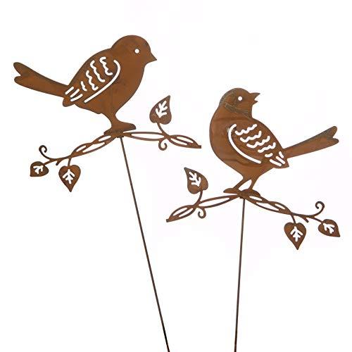 Metall Stecker. Vogel auf AST. Rost. 2 Stück/Vögel. Blumenstecker. 32 cm. 73917 (2 Stück)