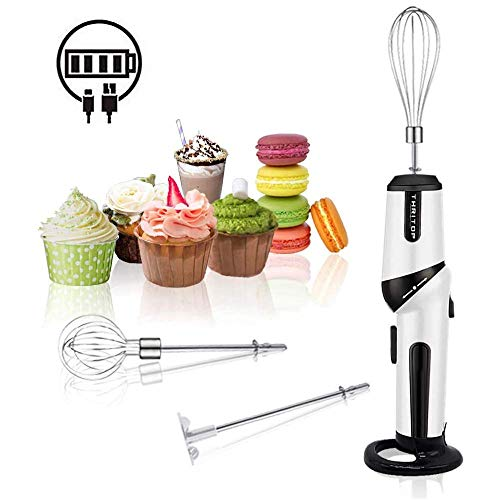 Hand Mixer, THRITOP Cordless Electric Kitchen Hand Blender Kitchen Mixer Hand Stirrer,Rechargeable Battery Operated,2 speed Egg Beater,Black & White,12W Battery