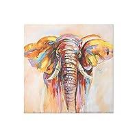 カラフルな象に印刷された動物のポスター絵画キャンバス絵画壁アート写真の家の装飾ポスター-50x50cmフレームなし