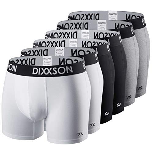 DIXXSON Basic Men Underwear 6er Pack Boxershorts Herren (L, White Black Grey)