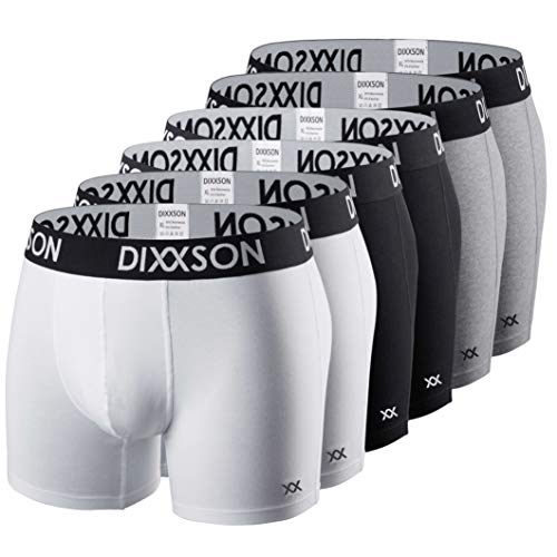 DIXXSON Basic Men Underwear 6er Pack Boxershorts Herren (M, White Black Grey)