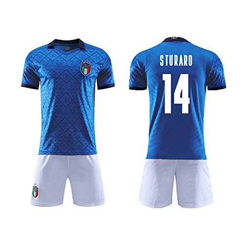 HSDJ 2021 Equipo Italiano Inicio Jersey de fútbol, Traje Adulto/niño, Súper Secado rápido y Tela Transpirable Blue 14-XL