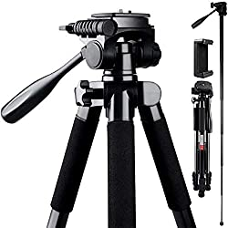 powerful 72-inch FOSITAN compact travel tripod with camera tripod, quick release plate and phone holder …