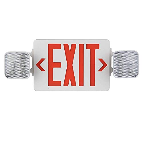 AmazonCommercial Emergency Light Exit Sign, 1-Pack, Exit Combo with Battery Backup, 2 LED Adjustable Heads