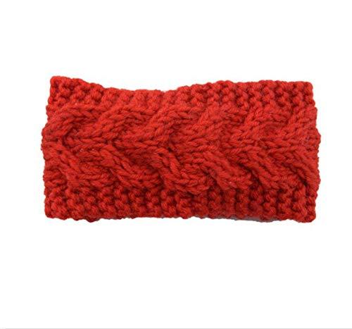 Hlnaughty Knit Wollen Hoofdband Baby Winter Oor Warm Cover Hoofddeksels Band Gebreide Haak Kids Haarband Wikkel Rood