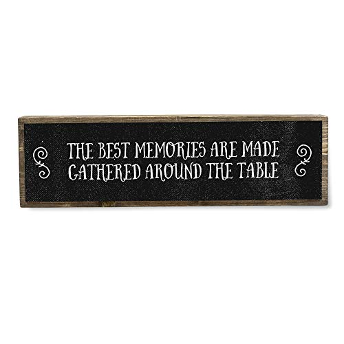 The Best Memries are Made Gathered Around The Table - Metal Wood Sign Dark - Kitchen Decor - Rustic Farmhouse Kitchen Decor Wall Sign