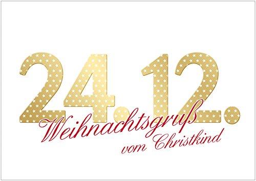 fioniony Lustige Weihnachtskarte (Blanko) • auch als Weihnachts-Gutschein Klappgrußkarte mit Typo-Design in Gold - Gelb und mit Sternenmuster 24.12. Weihnachtsgruß vom Christkind (Mit Umschlag) (8)