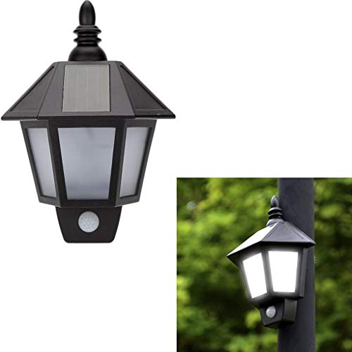 ProGreen Lámpara Solar, Lámpara Solar Retro, IP65 Impermeable, PIR Sensor de Luces Humana, Luces Solar para Jardín, Terraza, Cámping Patio, Villa, etc