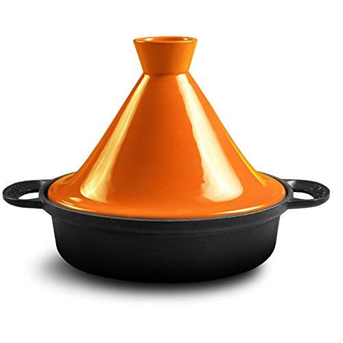 Cocotte En Fonte Avec Couvercle 26cm - Cuiseur à Rôtir Antiadhésif Pour Four Hollandais Sans Danger Pour Le Gaz - Avec Couvercle,Orange