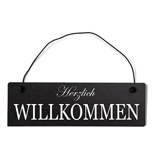 Deko Shabby Chic Schild Herzlich Willkommen Vintage Holz Türschild in schwarz mit Draht