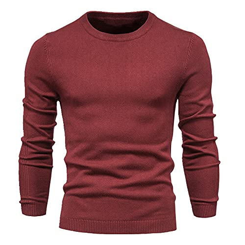 Espesor Pullover Hombres O-cuello Color Sólido Manga Larga Caliente Slim Suéteres Hombres Suéter Hombre Ropa Masculina