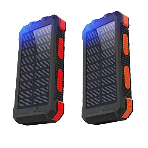 Tuimiyisou Cargador Solar, Banco De Potencia Impermeable Aire Libre Portátil 20000mah, Brújula del Teléfono Móvil Solarenergy, Impermeable Móvil Banco De La Energía