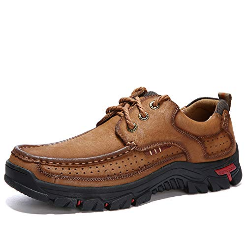 Men's Flat Shoes Classic Casual Breathable Soft Walking Shoes Waterproof Mountaineering Outdoor Hiking Shoes Size 7-15 (Brown lace up, Numeric_15)