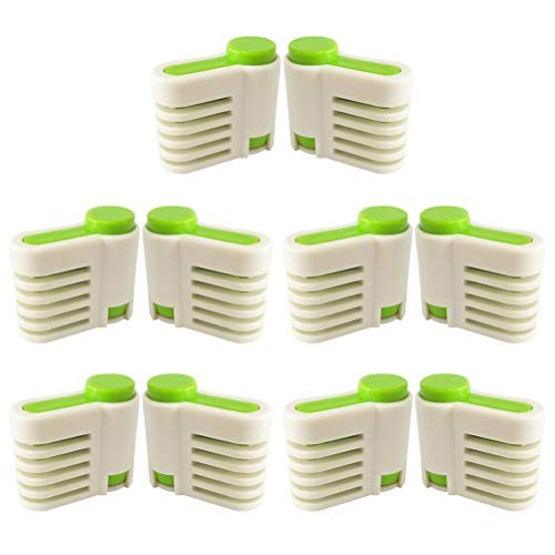 5 Pairs DIY Cake Slicer Stratification Auxiliary Adjustable 5 Layers Bread Slice Toast Cut Dessert Slicer for Kitchen Fixator Tool (Green)