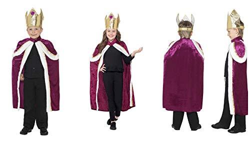 Fancy Dress World-Bambini Kiddy King Queen Crown & Robe Costume-i Tre Re Magi Nativita Panto Party Fun 35959