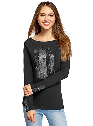 oodji Ultra Mujer Camiseta de Manga Larga con Escote Barco, Negro, ES 36 / XS